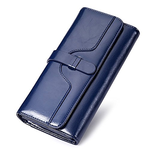 Vacchetta In Blu Piegato Metà Marrone Elegante Tracolla Piegata Portafoglio Pelle Di Donna A Colore Borsa Semplicità qagwRt