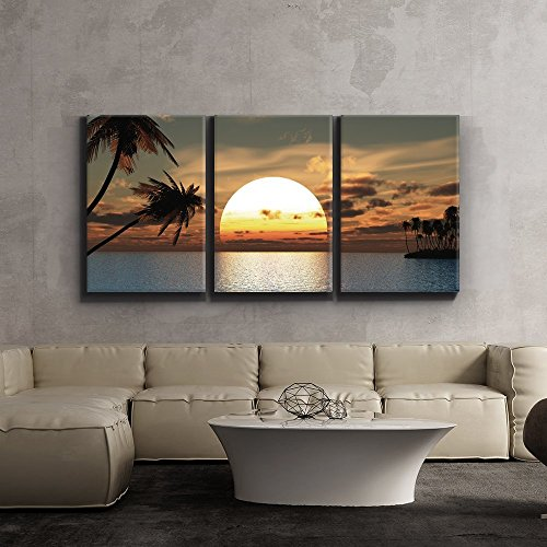 Tropical Wall Decor Art - wall26 3 Piece Canvas Print - Contemporary Art, Modern Wall Decor - Tropical Sunset endless summer - Giclee Artwork - Gallery Wrapped Wood Stretcher Bars - Ready to Hang 16 x 24 x3 Panels