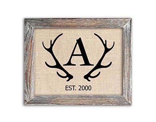 Antler Monogram Sign on Authentic Burlap Fabric, Optional Barnwood Frame, Farmhouse, Deer or Stag Decor
