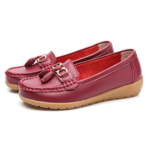 Loafers Platform Tassel Leather Wide Loafers Wedge Moccasins Redwine NiNE CiF Womens Fit wxTCU10Aq