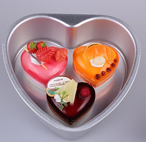 Cherion 4PC Aluminium Heart Shaped Cake Pan Set with Removable Bottom for Valentine's Day - 5'' 6'' 8'' 10'' by Cherion (Image #7)