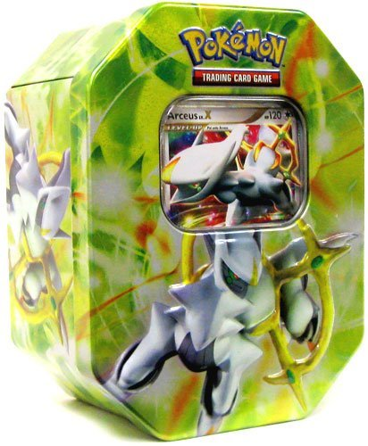 Pokemon 2009 Exclusive Collector Tin Set Arceus with Arceus LV.X Card Green Tin (4 Pokémon TCG booster packs)