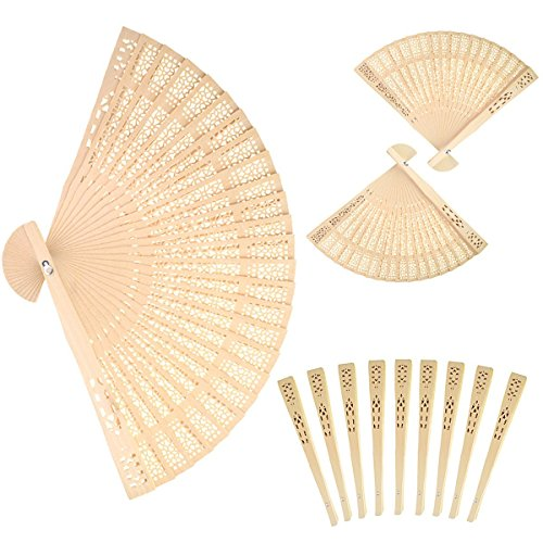 Sandalwood Fan (Set of 12 pcs)- Baby Shower Gifts & Wedding Favors (Wedding Favors Fans compare prices)