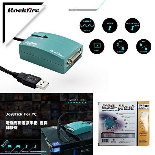 Gimax NEW USB to 15 Pin Female MIDI Joystick Game Port Adapter Nest Converter Rockfire 15-P RM-203 GAMEPORT 98/ME/2000/XPFD047