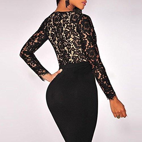 Kearia-Women-Sexy-Deep-V-neck-Bodycon-Long-Sleeves-Mini-Lace-Dress-Clubwear-Dress