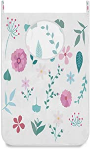 Hanging Laundry Hamper Bag Chic Retro Flowers and Leaves Door/Wall/Closet Hanging Large Laundry Bag Basket for Dirty Clothes Storage Organizer Waterproof,with 2 Hooks,Space Saving for Dorm,Small Room