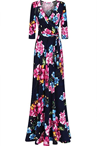 Bon Rosy Women's Silky and Stretchy 3/4 Sleeve Deep V-Neck Peony Printed Maxi Faux Wrap Dress Navy Pink L(DJ51504-WVE) (Long Dress Peony)