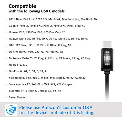USB Type C Earphones, Earbud Headphones with Mic & DAC Chipset for 2018 New  iPad Pro/MacBook, Google Pixel 3/2/XL, HTC U12/U11/10, Sony Xperia,