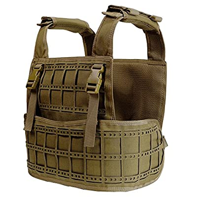 WosporT Tactical 1000D Waterproof Nylon Molle Modular Vest with Loading System to attach Pouches Airsoft Paintball CS Hunting Shooting Breathable Protection(3 colors,Black,Green,Tan)
