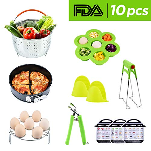 Instant Pot Accessories Set 10 Parts with Steamer Basket Egg Steamer Rack Non-stick Springform Pan Steaming Stand 1 Pair Silicone Cooking Pot Mitts Three Menus For Sale