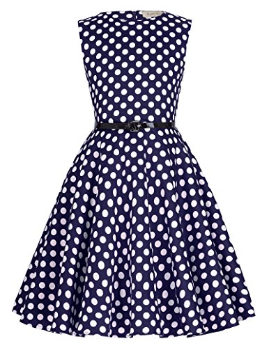 - Little Girls Floral Dresses Summer Pleated Cotton Dresses 6-7Yrs K250-12, Navy/White Polka Dots