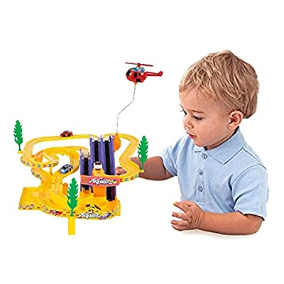 Liberty Imports - New Edition - Track Racer Race Cars Fun Toy Playset for Kids - Battery Operated Sport Racing Vehicles and Helicopter Track Set (NO Music): Toys & Games