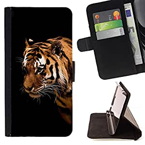 BullDog Case - FOR/LG OPTIMUS L90 / - / tiger cat big stripes wild portrait face eyes /- Monedero de cuero de la PU Llevar cubierta de la caja con el ID Credit Card Slots Flip funda de cuer