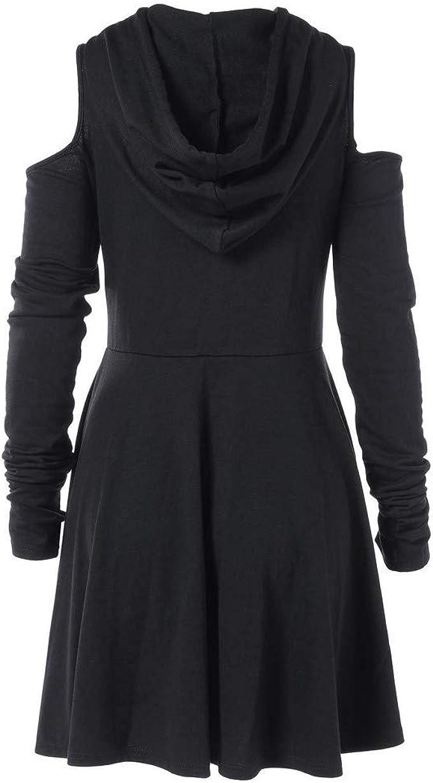 Goosuny Damen Winterkleider Frauen Modische Hooded Schulterfrei Langarm  Kurze Kleider Reißverschluss Swing Kleid Schöne Einfarbig Minikleid Kleidung