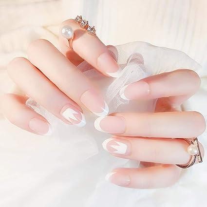 Edary 24 Uñas Postizas Francesas Blancas Desnudas Redondas