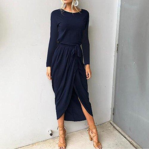 Playa Mujer Fiesta Noche Modaworld Manga de Larga niña Azul Largos de Elegante oscuro Maxi Casual de Falda Vestidos Vestido Largo Vestido Vestidos Mujer Boho de ❤️ Vestido q6n0THwv