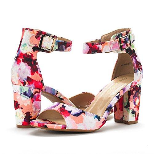 Dream Pairs Women's HHER Floral Low Heel Pump Sandals - 7.5 M - Womens Sandals Floral