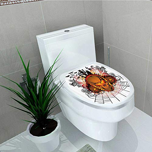 Printsonne Bathroom Toilet seat Sticker Decal Kull ce Bfire Effect Spirits Other World Ccept Bats Spider Web Halloween Decal Sticker Vinyl W14 x L14 -