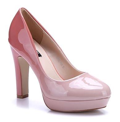 Schuhtempel24 Damen Schuhe Plateau Pumps Blockabsatz 11 cm High Heels