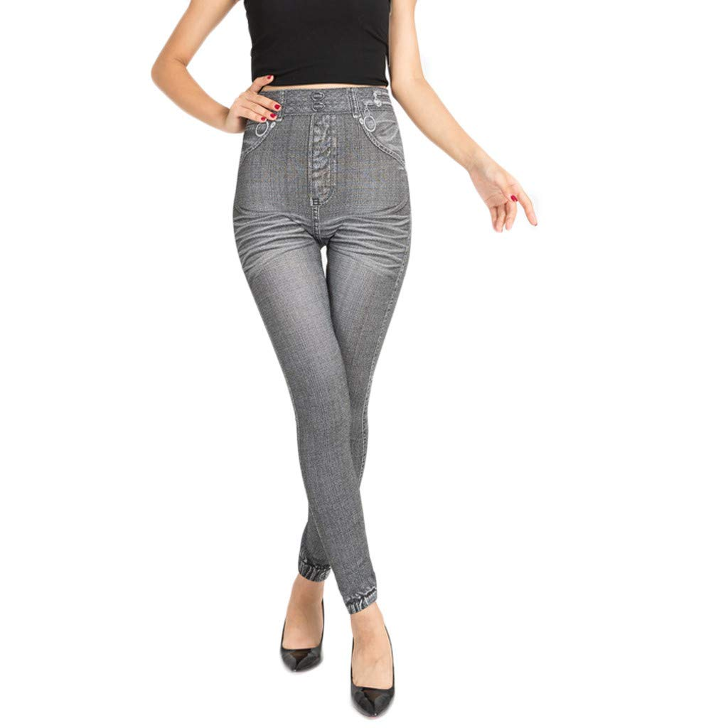 Ladies Simulated Jeans with Hip Lift and Stretch Under Pants Silver