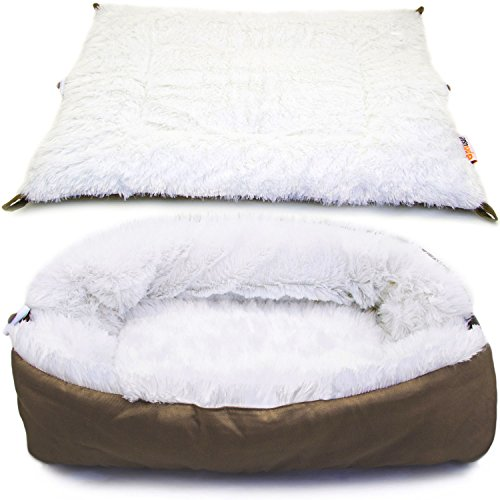 Pettsie Cat Pet Bed & Mat 2in1 for Cats or Small Dogs with Ultra Soft Fluffy Side and Comfortable 100% Cotton Side, Machine Washable for Easy Maintenance, 24-Inch x 20-Inch