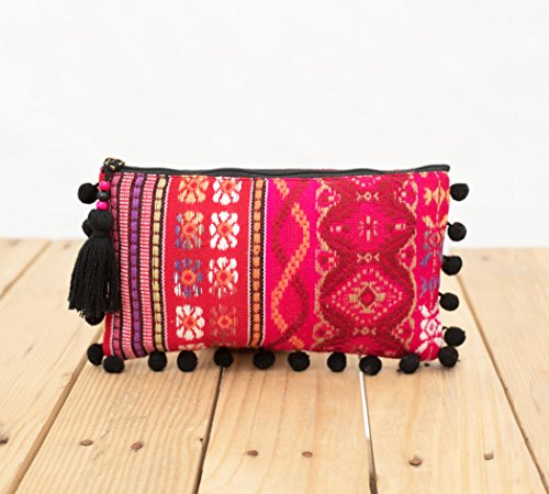 Pink Dobby Tasche, Acryl-Stoff, Clutch Reißverschluss Geldbörse, Make Up oder Kosmetiktasche, Utility Pouch, Boho Geldbeutel
