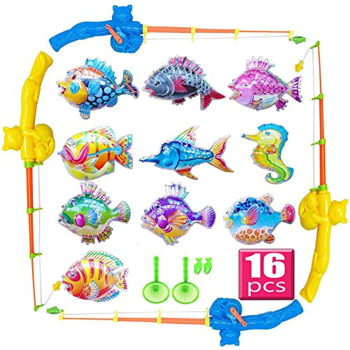 NiGHT LiONS TECH Bath Toy,16 PCS Magnetic Fishing Games,Floating Fishing Toy in Bathtub Bathroom Pool Bath Time for Boys Girls Toddler Child,Summer Water Toys Fishing Toy for Kids Party