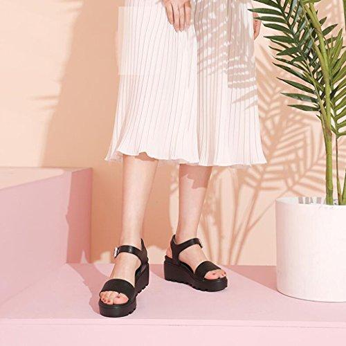 Sandales Taille Blanc Black Plate Chaussures Chaussures Pente Imperméable des Forme avec Summer Jingsen Plate Simple Casual Forme Couleur Sandales 35 qwH6Tgxa