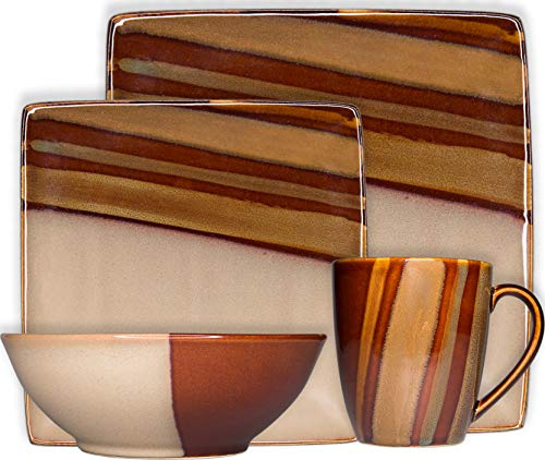 Sango 3602BR800ACM07 Avanti 16-Piece Stoneware Dinnerware Set, Brown