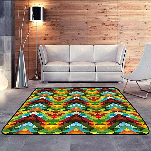 Michigan Optic - Kids Rugs for playroom,Colorful,Abstract Optic PatternW 71