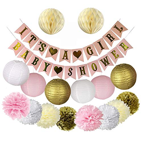 Pink and Gold Baby Shower Decorations for Girl- Banner, Lanterns and Flower -