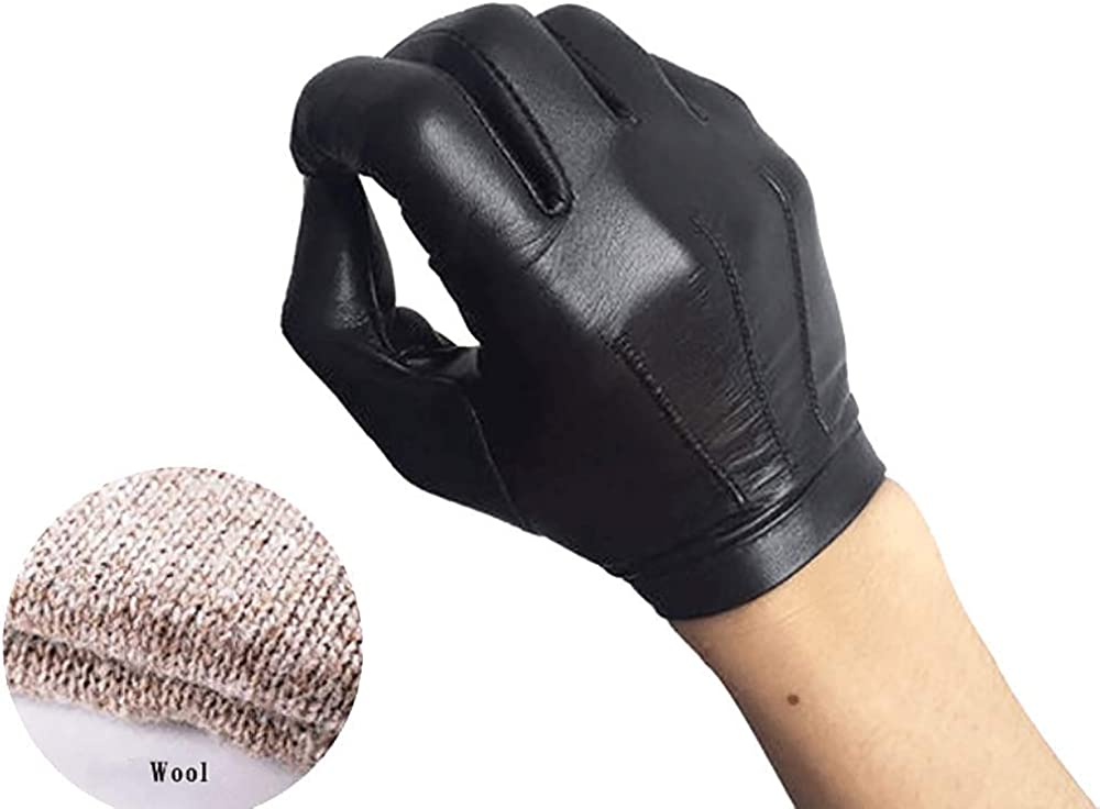 HighShine Mens Leather soft Driving Gloves unlined real goatskin leather gloves black breathtable fit touchscreen thin leather gloves for men