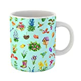 Emvency Coffee Tea Mug Gift 11 Ounces Funny Ceramic Garden Flowers Birdhouse Boots Mushrooms Blue Vintage Rural Pattern Watercolor Gifts For Family Friends Coworkers Boss Mug