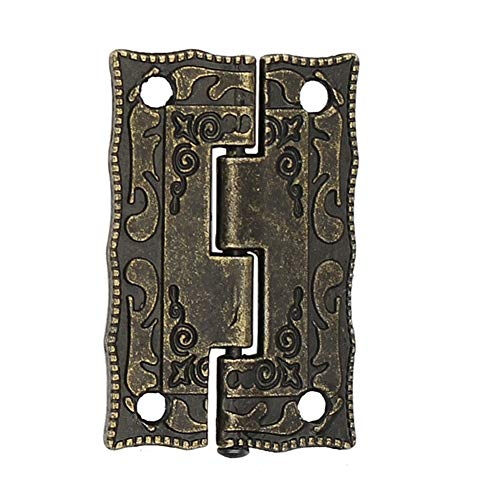Cabinet Hinges - 10pcs Furniture Hinge Cabinet Drawer Door Butt Antique Bronze Decorative Hinges Hardware - Grass Demountable Round Brushed Outside Cabinet Hole Mount Made Matt Bore Dril