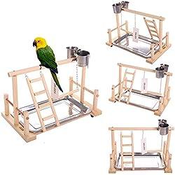 "QBLEEV Bird's Stand Playground Climb Wooden Perches (Bird Stand(14.4"" L 9"" W9.7 H))"