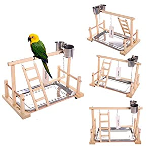 "QBLEEV Bird's Stand Playground Climb Wooden Perches (Bird Stand(14.4"" L 9"" W9.7 H)) 92"