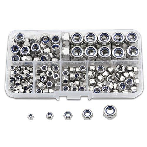 TOVOT 185 PCS Stainless Steel Nylon Lock Nut Assortment Kit Contains M3 M4 M5 M6 M8 304 Stainless Steel Stainless Steel Nylon Insert Lock nut - Locknut Assortment Kit