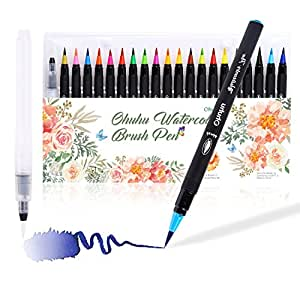 Watercolor Brush Markers Pen, Ohuhu 20 Colors Water Based Drawing Marker Brushes W/A Water Coloring Brush, Water Colored Ink W/Soft Flexible Tip for Adult Coloring Books, Manga, Comic, Calligraphy,Great Christmas Gift Idea