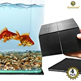 4 Non-Slip Grip Pads - Aquarium Grippers Perforated into Smaller Squares - Protects Surface from Scratches - Keeps Fish Tank in Position - 4' x 4' Durable 3mm Thick, Black Rubber Sheets