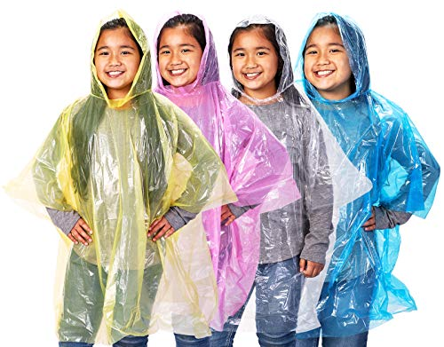 Juvale 48-Pack Kids Disposable Emergency Rain Ponchos with Hood, 4 Assorted Colors