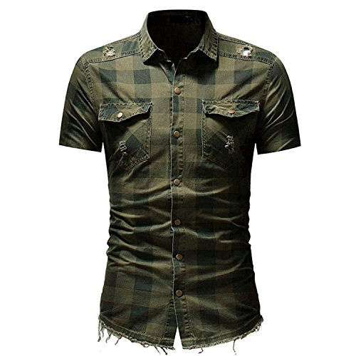 Price comparison product image Sagton® T-Shirt for Mens,  Men's Slim Fit Button Plaid Shirt with Pocket Short Sleeve (3XL,  Army Green)