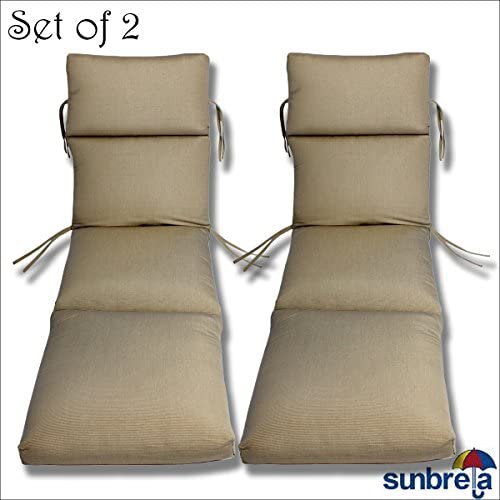 SET OF 2-22x74x5 Sunbrella Indoor Outdoor Fabrics in Taupe Rib CHANNELED CHAISE CUSHION by Comfort Classics Inc.