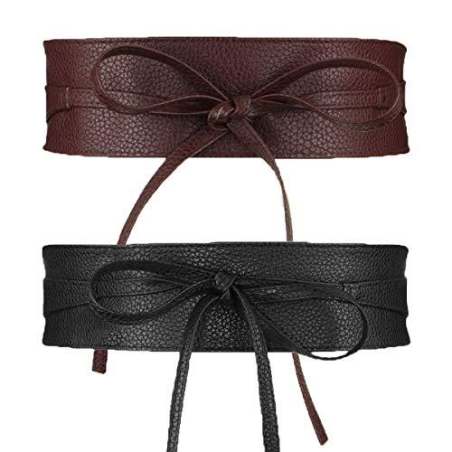 Womtop Womens Belts PU Leather Obi Waist Belt Adjustable Length Waist Strap Cummerbund for Dress (Black+Coffe, Free)