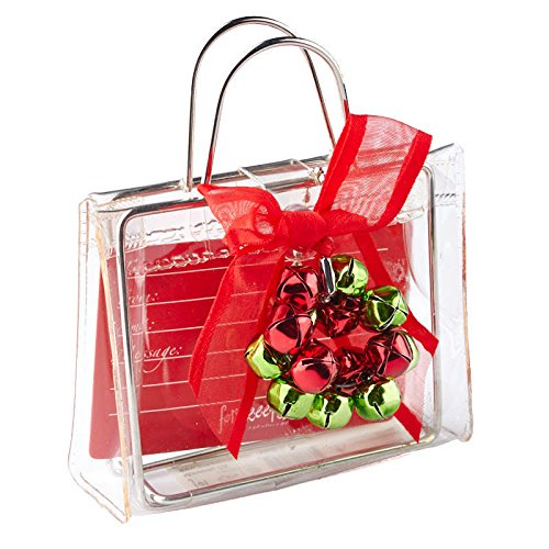 (Factory Direct Craft Package of Transparent Plastic Gift Card Holder Bags with Red and Green Jingle Bells - 6 Bags)