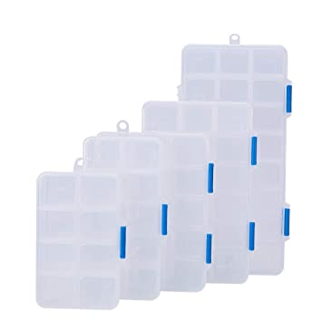 BENECREAT 5 Pack Tamaño Mixto Divisores de Joyería Organizador de Caja de Cuentas Transparente de Plástico Ajustable (24/18/15/10/8 Compartimientos): ...