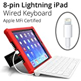 Apple MFI Certified 8-pin iPad Wired Keyboard Lightning Connector for iPad 4, Air, Air 2, Mini, Mini with Retina, and Mini 3. Great for PARCC and Smarter Balanced Tests