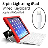 Hitek iPad Wired Keyboard, MFI Certified, Made for K-12 Schools State standardized Testing. Compatible with 2018 & 2017 iPad, 6th & 5th Generation, All iPad Airs and Pro Tablets