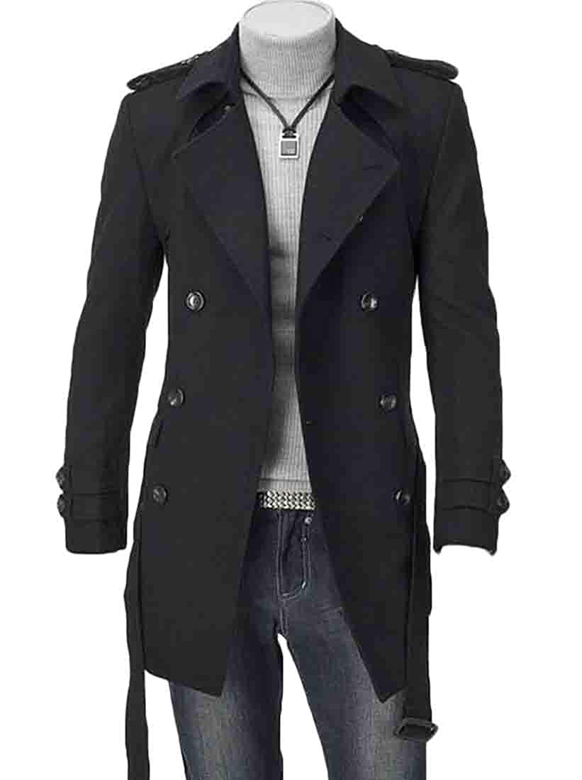 KLJR Men Autumn Oblique Zipper Slim Fit Woolen Long Overcoat Coat