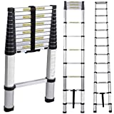 SogesHome 12.5ft Aluminum Telescopic Extension Ladder Extendable Telescoping Ladder One Button Retractable Ladder