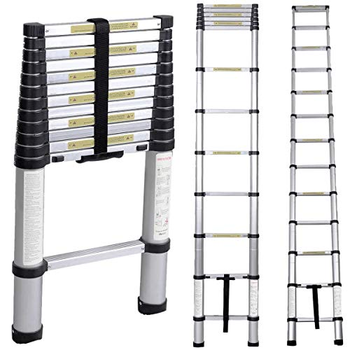 - Soges 12.5ft Aluminum Telescopic Extension Ladder,12 Steps Extendable Telescoping Ladder with Spring Loaded Locking Mechanism Non-Slip Ribbing 330 Pound Capacity EN131 Certified KS-JF-008